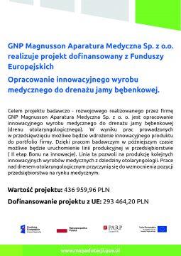 GNP Magnusson Aparatura Medyczna Sp. zo.o. realizuje projekt dofinansowany zFunduszy Europejskich
