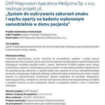 """GNP Magnusson Aparatura Medyczna Sp. zo.o. realizuje projekt pt.,,System dowykrywania zaburzeń smaku iwęchu oparty nabadaniu wykonanym samodzielnie wdomu pacjenta"""""""